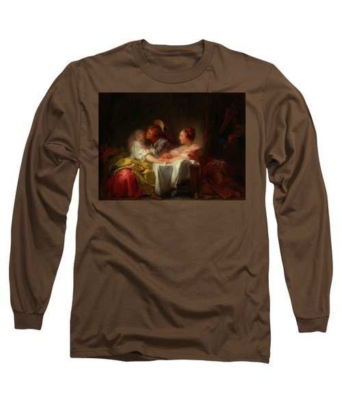 Long Sleeve T-Shirt featuring the painting The Stolen Kiss by Jean-Honore Fragonard