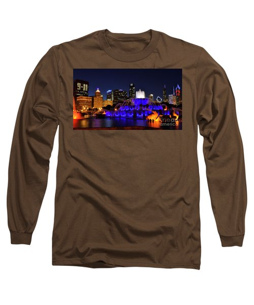 Long Sleeve T-Shirt featuring the photograph 911 Tribute At Buckingham Fountain, Chicago by Zawhaus Photography