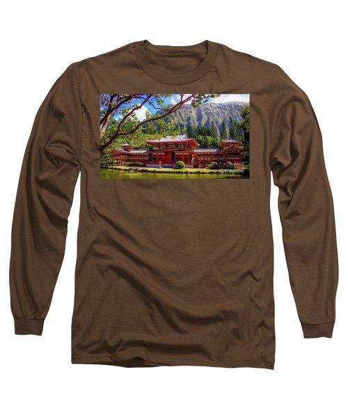 Buddhist Temple - Oahu, Hawaii - Long Sleeve T-Shirt