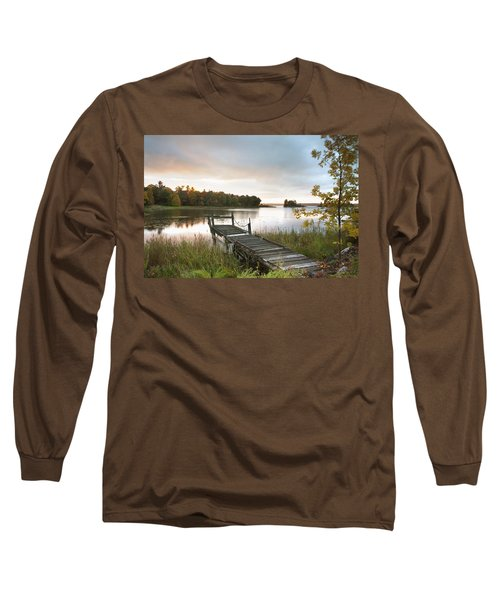A Dock On A Lake At Sunrise Near Wawa Long Sleeve T-Shirt