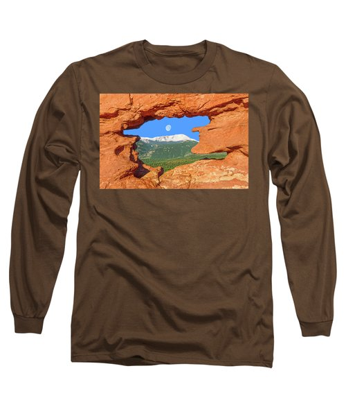 A Glimpse Of The Mighty Rockies Through A Rocky Window  Long Sleeve T-Shirt