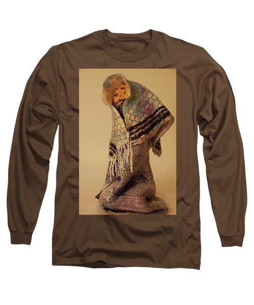 A Prayer In Talit Long Sleeve T-Shirt by Itzhak Richter