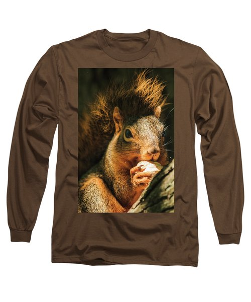 A Squirrel And His Nut Long Sleeve T-Shirt by Joni Eskridge