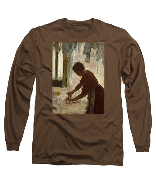Long Sleeve T-Shirt featuring the painting A Woman Ironing by Edgar Degas