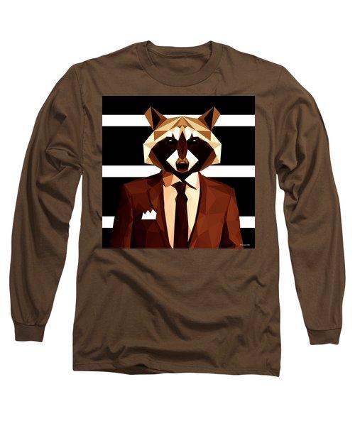 Abstract Geometric Raccoon Long Sleeve T-Shirt by Gallini Design