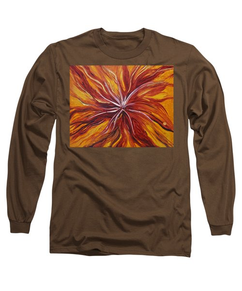 Abstract Orange Flower Long Sleeve T-Shirt