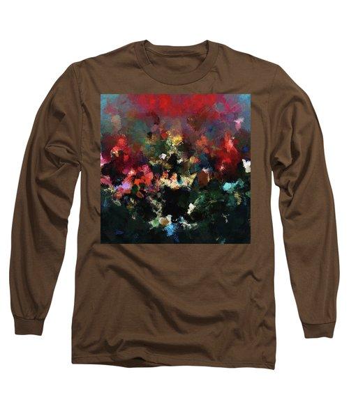 Abstract Wall Art In Dark Colors Long Sleeve T-Shirt by Ayse Deniz