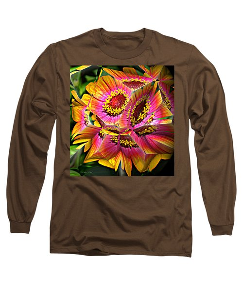 Abstract Yellow Flame Zinnia Long Sleeve T-Shirt by Kathy Kelly