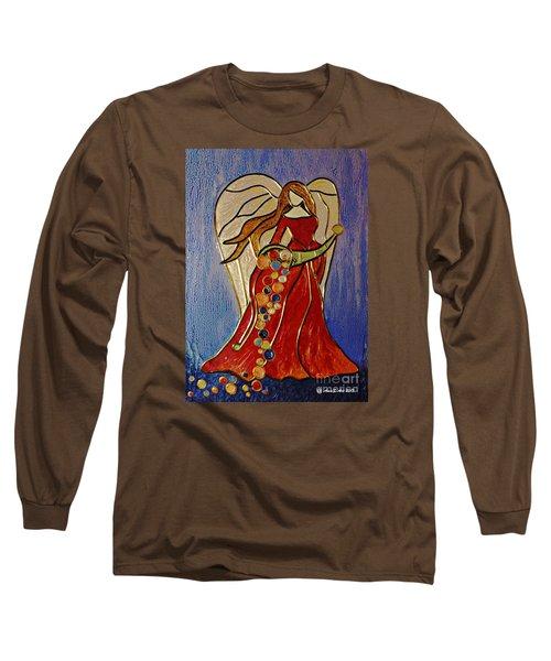 Long Sleeve T-Shirt featuring the mixed media Abundance Angel by AmaS Art