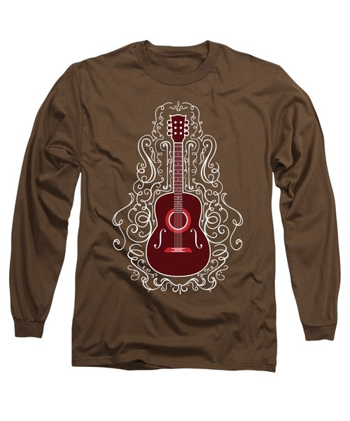 Acoustic Guitar With Scroll Design Long Sleeve T-Shirt