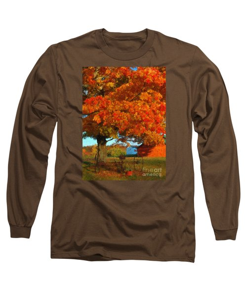 Long Sleeve T-Shirt featuring the painting Adirondack Autumn Color Brush by Diane E Berry