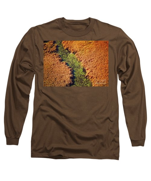 Aerial Farm Stream Lillies  Long Sleeve T-Shirt