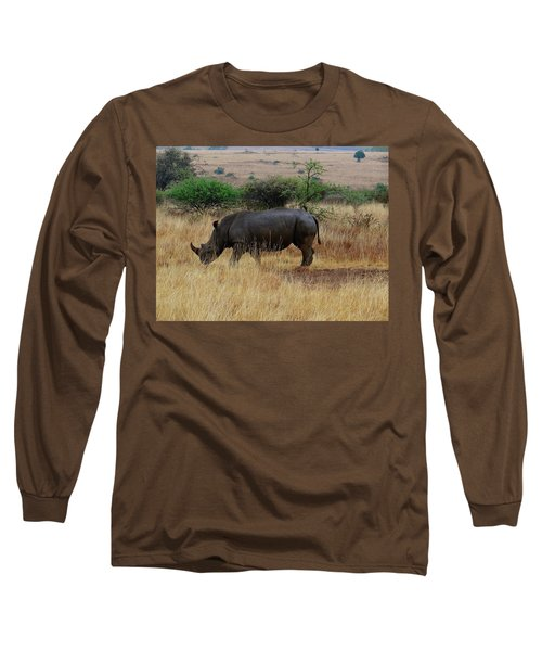 African Animals On Safari - One Very Rare White Rhinoceros Right Angle With Background Long Sleeve T-Shirt