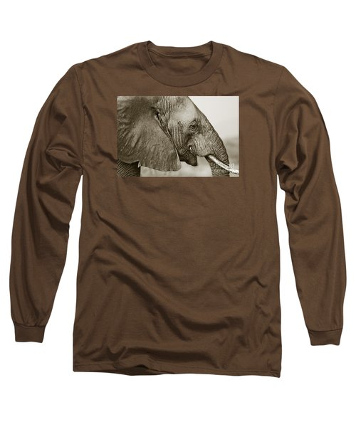 African Elephant Profile  Duotoned Long Sleeve T-Shirt by Liz Leyden