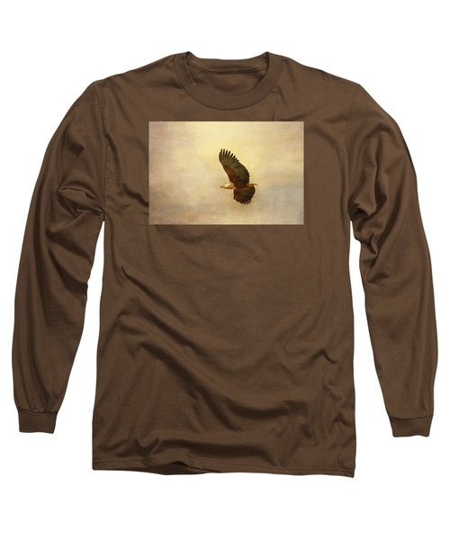 Long Sleeve T-Shirt featuring the tapestry - textile African Fish Eagle by Kathy Adams Clark