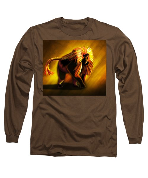 African Gelada Monkey Long Sleeve T-Shirt by John Wills