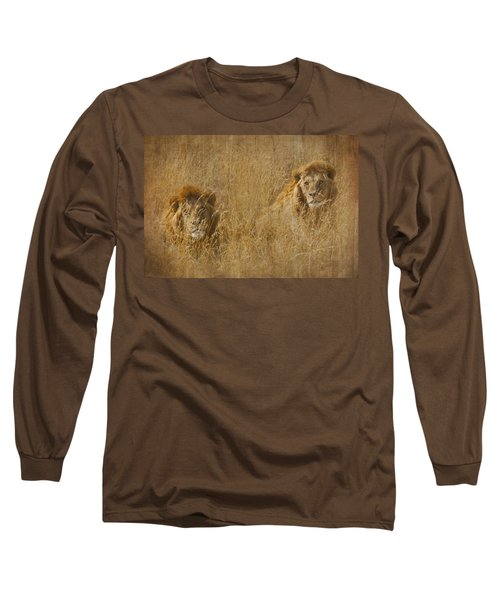 Long Sleeve T-Shirt featuring the tapestry - textile African Lion Brothers by Kathy Adams Clark