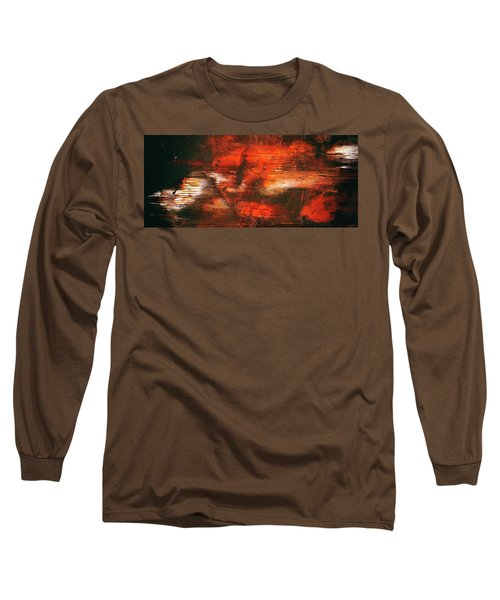 After Midnight - Black Orange And White Contemporary Abstract Art Long Sleeve T-Shirt