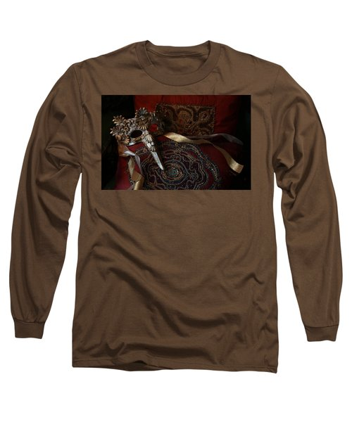 After The Ball - Venetian Mask Long Sleeve T-Shirt by Yvonne Wright