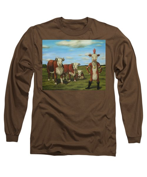 Long Sleeve T-Shirt featuring the painting Against The Herd by Leah Saulnier The Painting Maniac