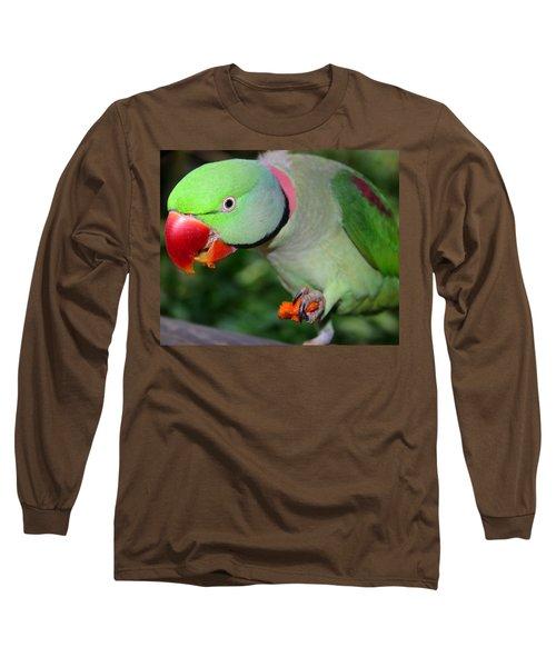 Alexandrine Parrot Feeding Long Sleeve T-Shirt by Ralph A  Ledergerber-Photography