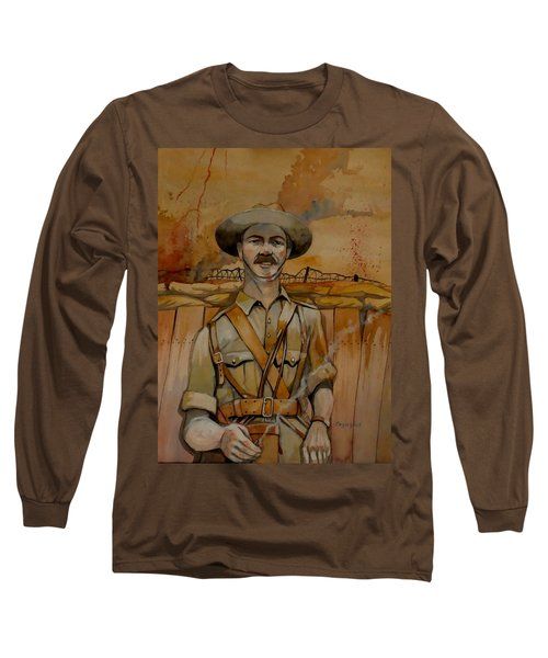 Long Sleeve T-Shirt featuring the painting Alfred Shout Vc by Ray Agius