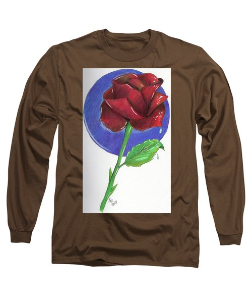 Almost Black Rose Long Sleeve T-Shirt