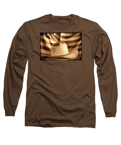 American Rodeo Cowboy Hat Long Sleeve T-Shirt by American West Legend By Olivier Le Queinec