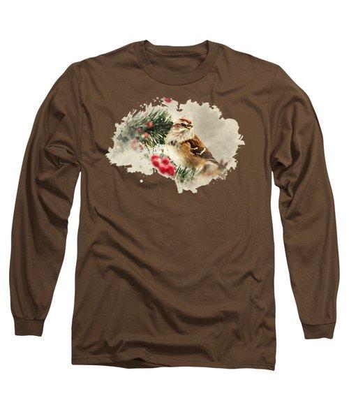 American Tree Sparrow Watercolor Art Long Sleeve T-Shirt