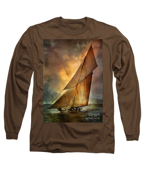 Long Sleeve T-Shirt featuring the digital art America's Cup 1 by Andrzej Szczerski