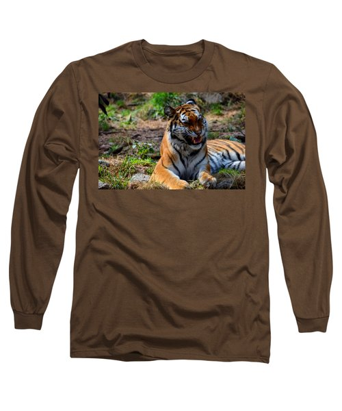 Long Sleeve T-Shirt featuring the mixed media Amur Tiger 3 by Angelina Vick