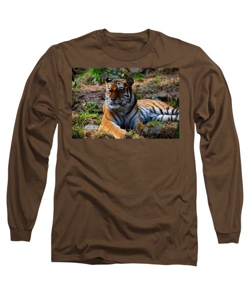 Long Sleeve T-Shirt featuring the mixed media Amur Tiger 8 by Angelina Vick