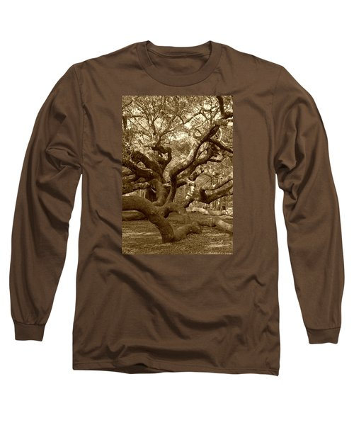 Angel Oak In Sepia Long Sleeve T-Shirt by Suzanne Gaff