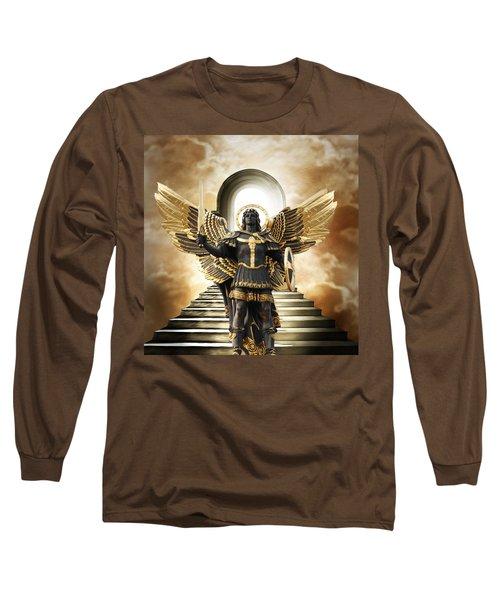 Long Sleeve T-Shirt featuring the digital art Angels Watching Over Me by Karen Showell