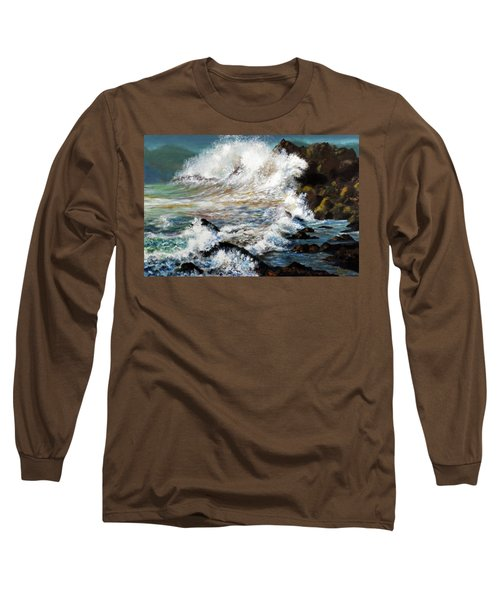 Long Sleeve T-Shirt featuring the painting Angry Sea by Walter Fahmy