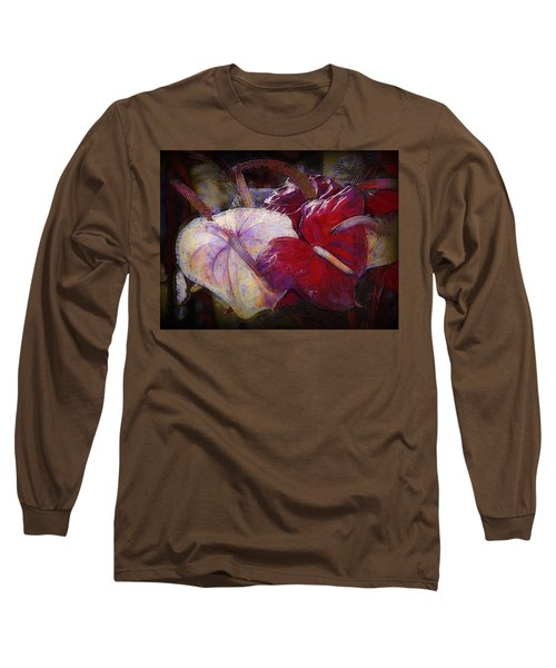 Long Sleeve T-Shirt featuring the photograph Anthuriums For My Valentine by Lori Seaman