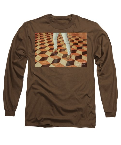Long Sleeve T-Shirt featuring the photograph Antique Optical Illusion Floor Tiles by Patricia Hofmeester