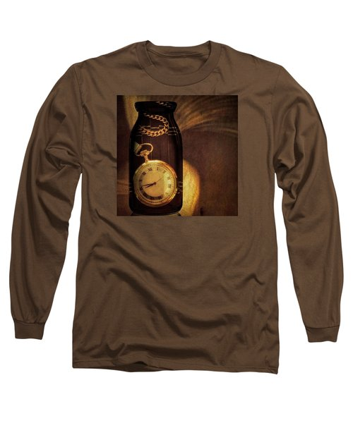 Antique Pocket Watch In A Bottle Long Sleeve T-Shirt by Susan Candelario