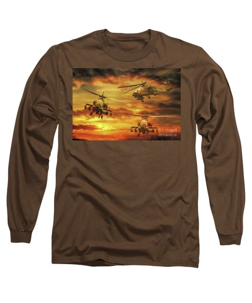 Long Sleeve T-Shirt featuring the digital art Apache Attack by Randy Steele
