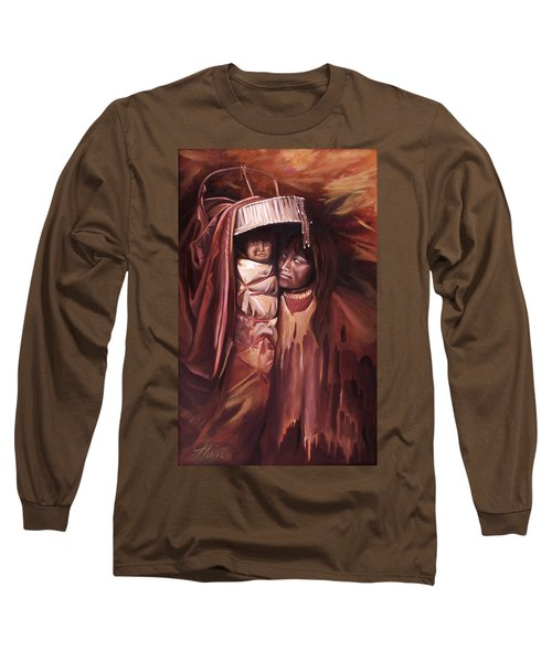 Long Sleeve T-Shirt featuring the painting Apache Girl And Papoose by Nancy Griswold