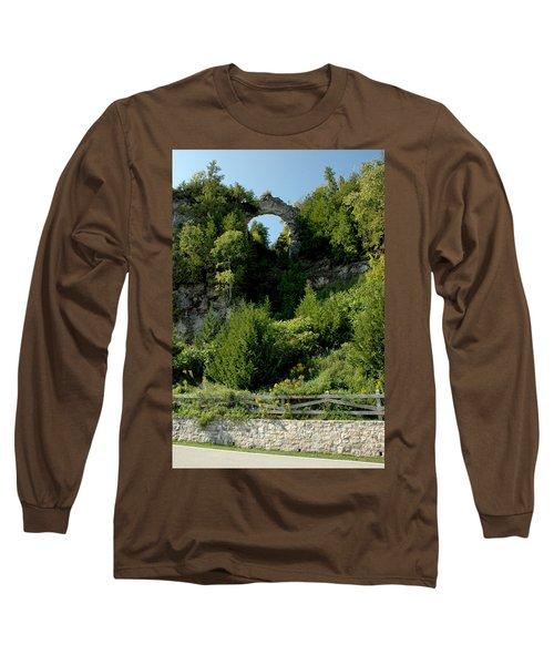 Long Sleeve T-Shirt featuring the photograph Arch Rock Mackinac Island by LeeAnn McLaneGoetz McLaneGoetzStudioLLCcom