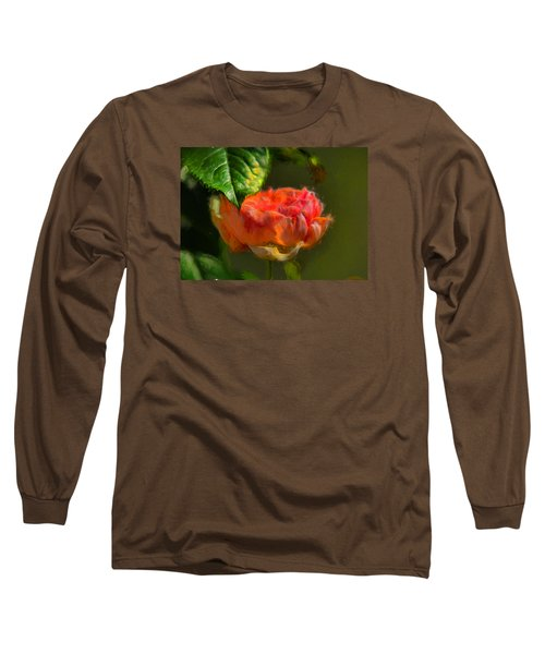 Long Sleeve T-Shirt featuring the photograph Artistic Rose And Leaf by Leif Sohlman