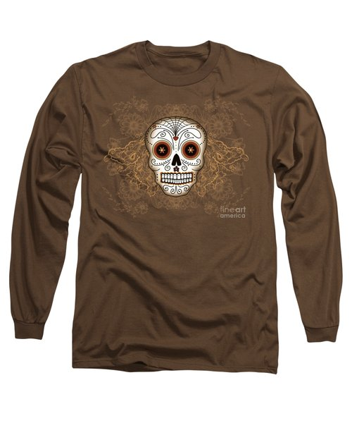 Vintage Sugar Skull Long Sleeve T-Shirt by Tammy Wetzel