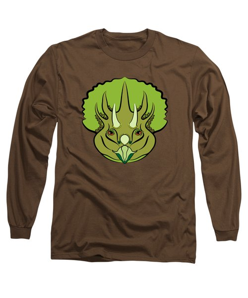 Triceratops Graphic Green Long Sleeve T-Shirt
