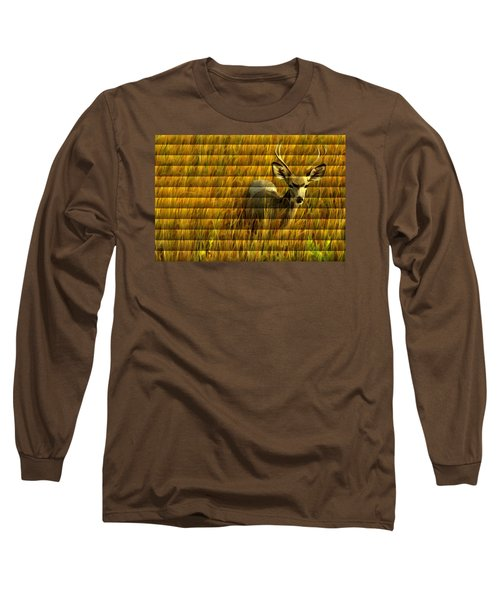The Buck Poses Here Long Sleeve T-Shirt by Bill Kesler