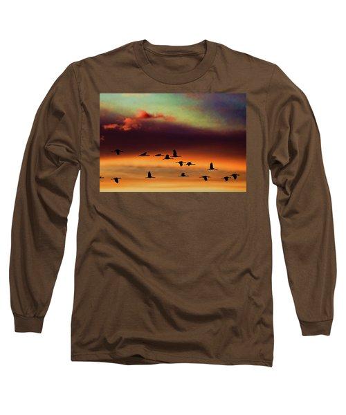 Sandhill Cranes Take The Sunset Flight Long Sleeve T-Shirt