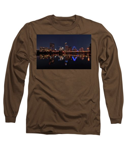 Austin Skyline At Night Long Sleeve T-Shirt by Todd Aaron