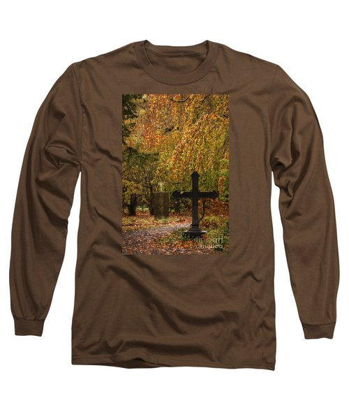 Long Sleeve T-Shirt featuring the photograph Autumn Cemetary by Inge Riis McDonald