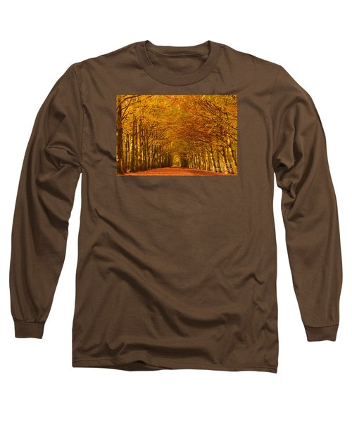 Autumn Lane In An Orange Forest Long Sleeve T-Shirt by IPics Photography