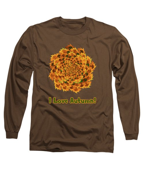 Long Sleeve T-Shirt featuring the digital art Autumn Leaves Pattern by Methune Hively